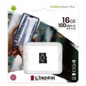 Карта памяти MicroSDHC Kingston 16 GB 100Mb/s, class 10 (без адаптера)